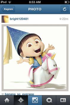 Agnes riding a unicorn= C's Halloween costume! Cannot wait.