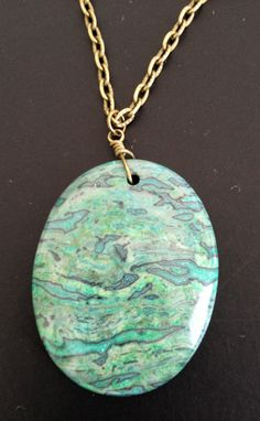 Green Leopard Skin Jasper Stone Necklace