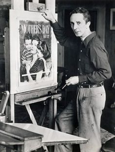 Norman Rockwell with a painting of his celebrating Monther's Day