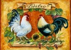 """Υπέροχη καρδιά πράγματα: κάρτα decoupage «κόκορες και κότες"""" (μέρος 2)"""