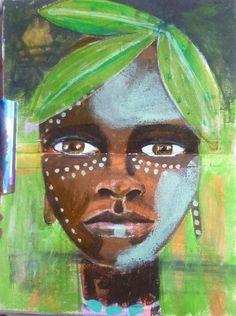 omo boy, omo valley, Portrait of a man, Acrylic painting, Mixed Media Art, Benedicte 2015
