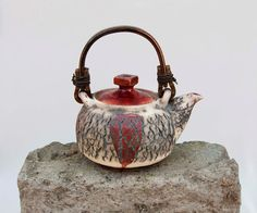 one of a kind  tea pot  red cracked surface teapot by CeramicSoul, $100.00