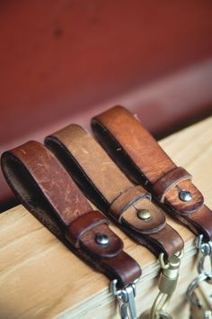 tannergoods: Worth Holding Onto from the workshop crew. Leather Keyring, Leather Cuffs, Leather Tooling, Leather Wallet, Leather Accessories, Leather Jewelry, Leather Workshop, Leather Carving, Leather Projects