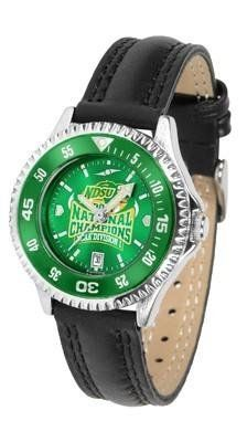 North Dakota Bison Ladies Leather Wristwatch by SunTime. $78.95. Adjustable Band. Water Resistant. Officially Licensed North Dakota State NDSU Bison Ladies Leather Wristwatch. Women. Poly/Leather Band. North Dakota Bison Ladies Leather Wristwatch with AnoChrome face. The Bison wrist watch has functional rotating bezel color-coordinated with team logo. A durable, long-lasting combination nylon/leather strap, together with a date calendar make this the ultimate watc...