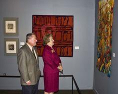 ATB8 Reception; Linda Wallace (two small tapestries), Rebecca Mezoff, Emergence I