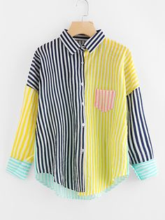 SheIn offers Contrast Striped Drop Shoulder Shirt & more to fit your fashionable needs. Striped Long Sleeve Shirt, Long Sleeve Shirts, Modest Fashion, Fashion Outfits, Womens Fashion, Cute Shirts, Clothing Patterns, Blouse Designs, Shirt Blouses