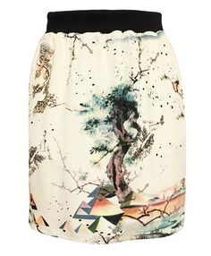 BALENCIAGA - Egyptian Printed Silk Skirt