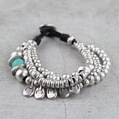 Leather Bracelet with Zamak Metal -antique silver (plated with sterling silver) Hippie Jewelry, Beaded Jewelry, Silver Jewelry, Handmade Jewelry, Beaded Bracelets, Unique Jewelry, Jewlery, Diy Jewelry Projects, Diy Schmuck