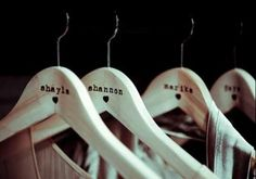 Cute hangers for pictures on wedding day