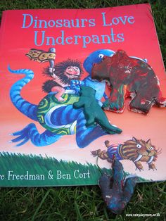 """Salt dough dinosaurs with """"Dinosaurs Love Underpants,"""" by Claire Freedman and Ben Cox."""