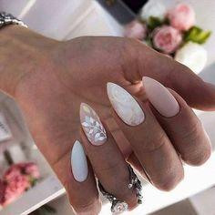 wedding nails \ wedding nails for bride . wedding nails for bride acrylic . wedding nails for bride classy . wedding nails for bride gel . wedding nails for bride bridal Water Nails, Marble Nail Designs, Almond Nails Designs, Almond Gel Nails, White Almond Nails, Short Almond Nails, Almond Nail Art, Gel Nail Designs, Bride Nails