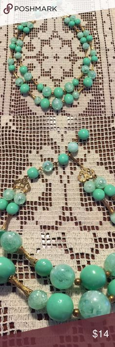 Vintage mint green turquoise Coro necklace lovely! Gorgeous mid century unsigned Coro vintage costume necklace in Beautiful mint green beads with clear and green marbleized beads and gold spacers and gold bars. Adjustable choker length. A lovely piece of costume jewelry from decades ago. NOT ANTHROPOLOGIE (using brand for exposure). Thanks! Anthropologie Jewelry Necklaces