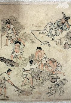 [Middle Ages-Joseon] Painting of threshing, by Danwon Kim Hong-do | Korea