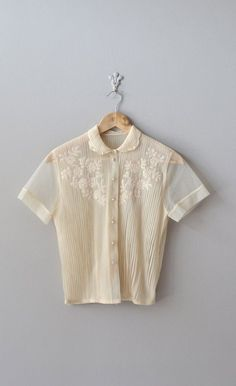 vintage 50s blouse / cream 1950s blouse / Veyvialle by DearGolden, $56.00
