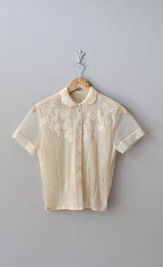 vintage 50s blouse / cream 1950s blouse / Veyvialle by DearGolden, $56.00