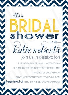 Custom Bridal Shower Invitation LOVE (if the yellow was pink or coral)