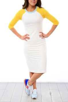 Raglan Sleeve Nursing Dress - White/Yellow/Blue Spa