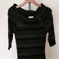Striped sweater tunic/dress, button detail collar Sweater tunic, never worn Arden B Dresses