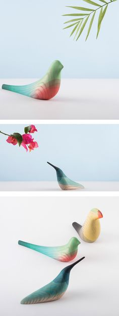 Immersed Birds, is a series of minimalist and modern wooden sculptures by Mexican designer Moisés Hernández.
