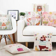 Cartoon Animal Bear Cat Elephant Linen Throw Cushion Cover Pillow Case Home Deco