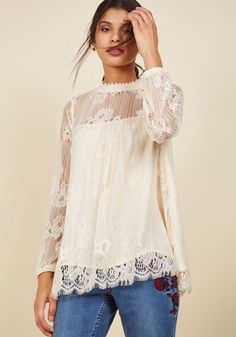 Authentic Ambience Lace Top. To prep for your housewarming, you don this ivory top, light an inviting scent, and put on a retro playlist. #cream #modcloth