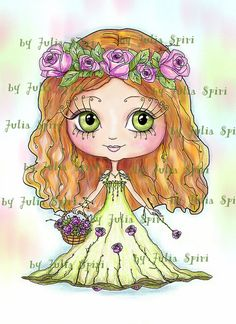 Selos Digital Digi, selo da menina, para colorir, Clip Art, transferências de impressão, arte de linha.  Menina com levantou-