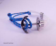 Bracelet ancre  ajustable - Bracelet homme - Bracelet cordon - Bleu - Bijoux créateur - Made in France - Cadeau homme de la boutique Axellecreations sur Etsy