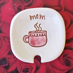 Personalized Ceramic Spoon/Tea Bag Holder - For Mom. $10.00, via Etsy.