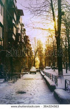 Street with the old car in the winter sunset, snow. - shutterstock, photography, winter mood, cold, Kyiv city, winter street