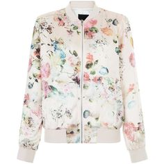 New Look Pink Floral Print Bomber Jacket (£30) ❤ liked on Polyvore featuring outerwear, jackets, casacos, tops, pink pattern, pink bomber jacket, long sleeve jacket, blouson jacket, pattern jacket and floral bomber jacket