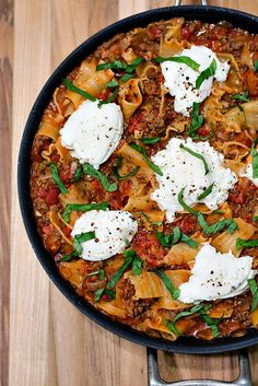 Skillet Lasagna | Cook Like A Champion 11/8/15 (used Farfalle noodles and added spinach)