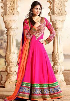 Pink Georgette Chuddidar Kameez with Dupatta