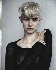 Harmony Boucher, model, fashion, style, androgynous, blonde cropped hair