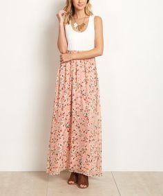 Love this Light Pink & White Floral Scoop Neck Maxi Dress on #zulily! #zulilyfinds