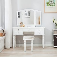 Tri Folding Mirror Vanity White Dressing Table Set Makeup Desk Dresser W/ Stool Makeup Stool, Makeup Desk, Makeup Dresser, Pink Dressing Tables, Water Tub, Unique Makeup, Room Chairs, Mirror Vanity, Two By Two