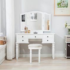 Tri Folding Mirror Vanity White Dressing Table Set Makeup Desk Dresser W/ Stool Makeup Stool, Makeup Desk, Pink Dressing Tables, Water Tub, Unique Makeup, Room Chairs, Mirror Vanity, Table Settings, Layout
