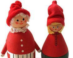 Mid Century Swedish Hand Made Wooden Dolls - Grandma and Child
