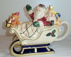 Fitz and Floyd Omnibus Sri Lanka Santa Sleigh Christmas Gifts Toy Holiday Teapot