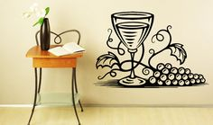 Wall Decals Wine glass with Grapes Decal Vinyl by VinylDecals2U
