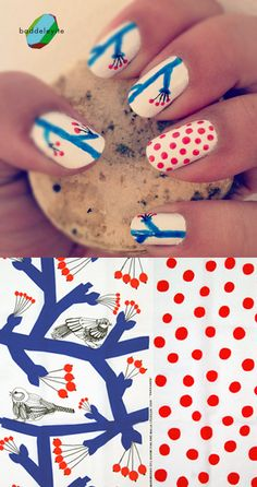 Nail art inspired by a pattern. Super cute.