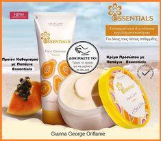 Διατηρήστε την επιδερμίδα σας απαλή και ενυδατωμένη όλο το καλοκαίρι .  Το σετ περιλαμβάνει :  Προϊόν Καθαρισμού Προσώπου με Παπάγια Essentials-36195 Κρέμα Προσώπου με Παπάγια Essentials-36194 Oriflame Beauty Products, Face Cleanser, Cream, Fruit, Creme Caramel, Facial Cleanser, Face Cleaning, Lotion