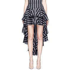 Caroline Constas 'Giulia' stripe high-low tiered ruffle skirt (34.960 RUB) ❤ liked on Polyvore featuring skirts, striped cotton skirt, blue skirt, wet look skirt, blue striped skirt and blue cotton skirt