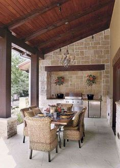 Cooking outdoors at Outdoor Kitchen brings a different sensation. We can use our patio / backyard space to build outdoor kitchen. Outdoor kitchen u. Outdoor Kitchen Design, Patio Design, House Design, Kitchen Decor, Kitchen Wood, Covered Patio Kitchen Ideas, Diy Kitchen, Kitchen Storage, Vintage Kitchen