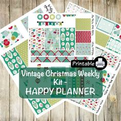 Printable HAPPY Planner Vintage Christmas Weekly Kit- Santa Snowman by WhimsicalWende on Etsy