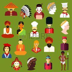 японский: Многонациональные иконки людей с мужчинами и женщинами разных китайский, японский, индийский, Индеец, немецкий, итальянский, французский, русский, Великобритании, Австралии, греческого народов. Плоские иконы стиля и аватары Иллюстрация