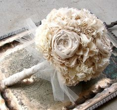 Fabric Bridal Bouquet. Bride Bouquet, Vintage Wedding, Natural Cotton Fabric Flower Bouquet. $65.00 USD