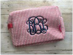 Large Monogrammed Seersucker Makeup Bag - pinned by pin4etsy.com