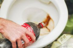 How To Clean a Toilet with Coke and use it for rinsing your toilet pipe etc. It removes rests of soap, grease, hair...etc
