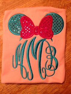 Minnie Mouse bow with initials