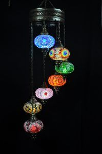 Turkse Kroonluchter Mozaiek Bruin Beige 3 Bollen Turkse Lampen Turkse Lampen Lampen Tiffany Lamp
